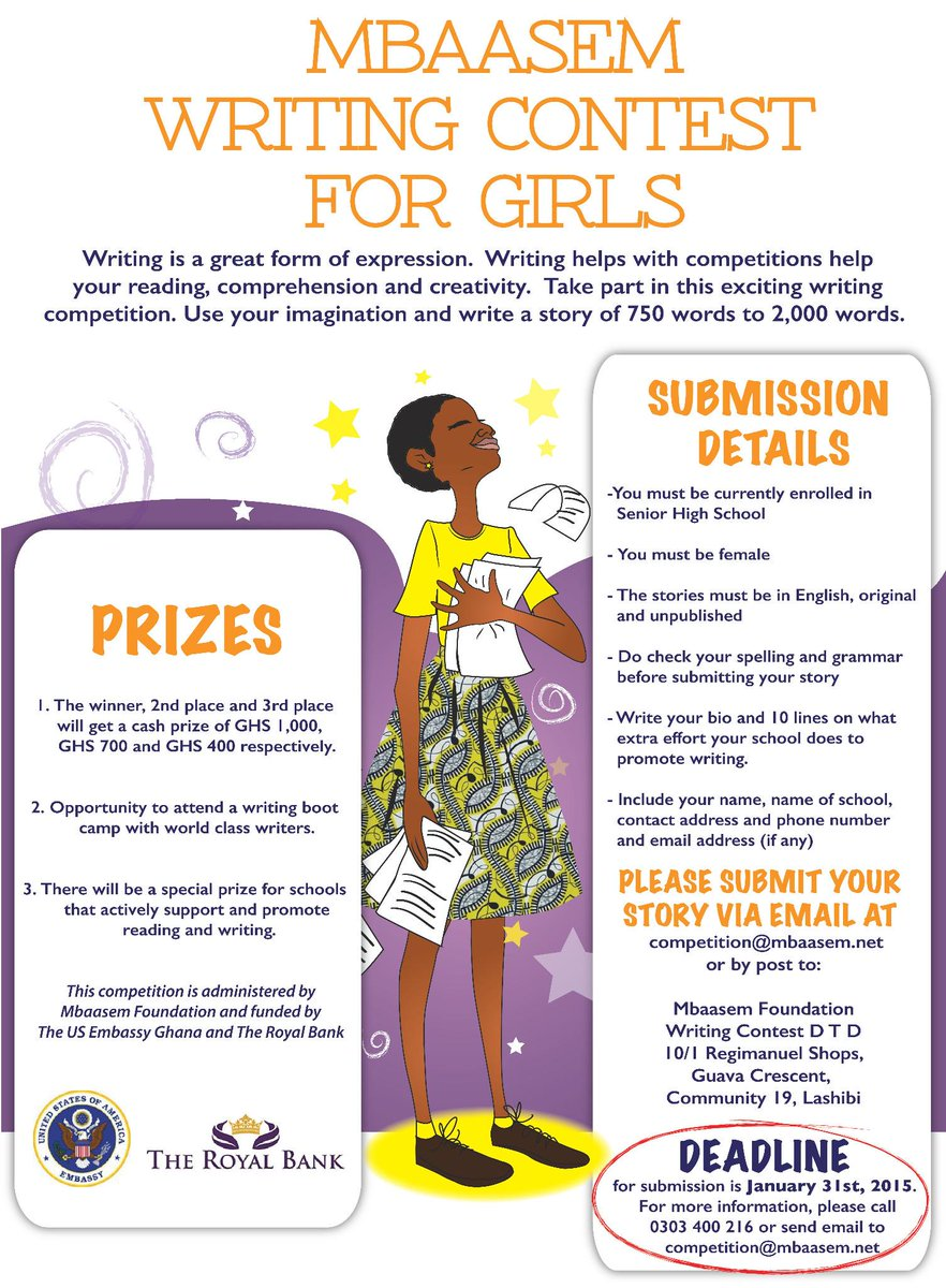 Mbaasem Writing Contest for Girls in SHS is open for submissions @writersPG @Mmofra_Ghana @GoldenBaobab <br>http://pic.twitter.com/6lQLc1cRSl