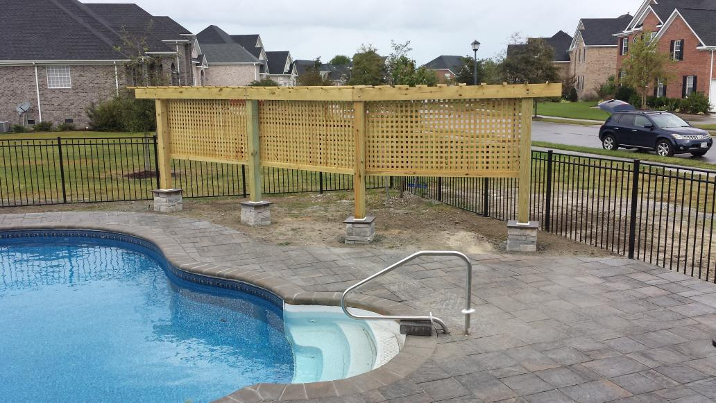 Vb patios on twitter new pool pool deck privacy for Pool screen privacy