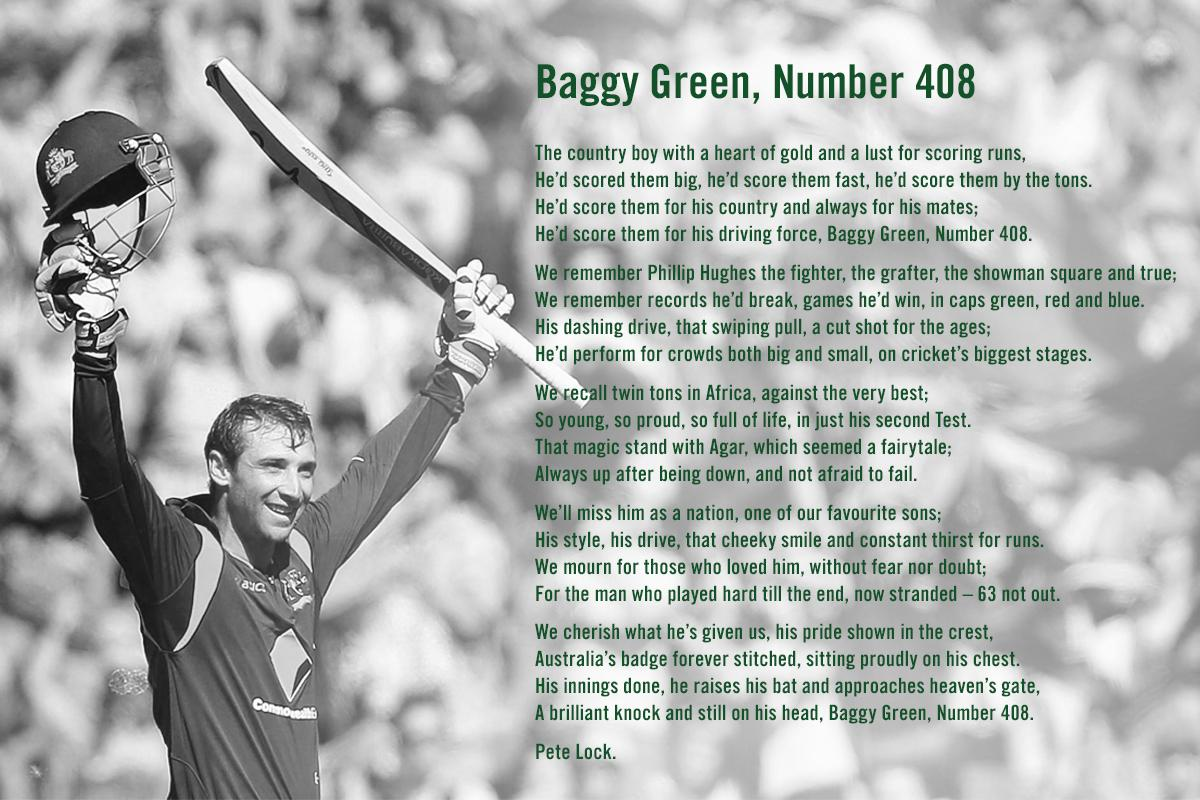 Rest in peace Phillip Hughes. Baggy Green, Number 408. http://t.co/RhPFqtl5NE #Baggygreen408 http://t.co/dlWI6Lz2Hu