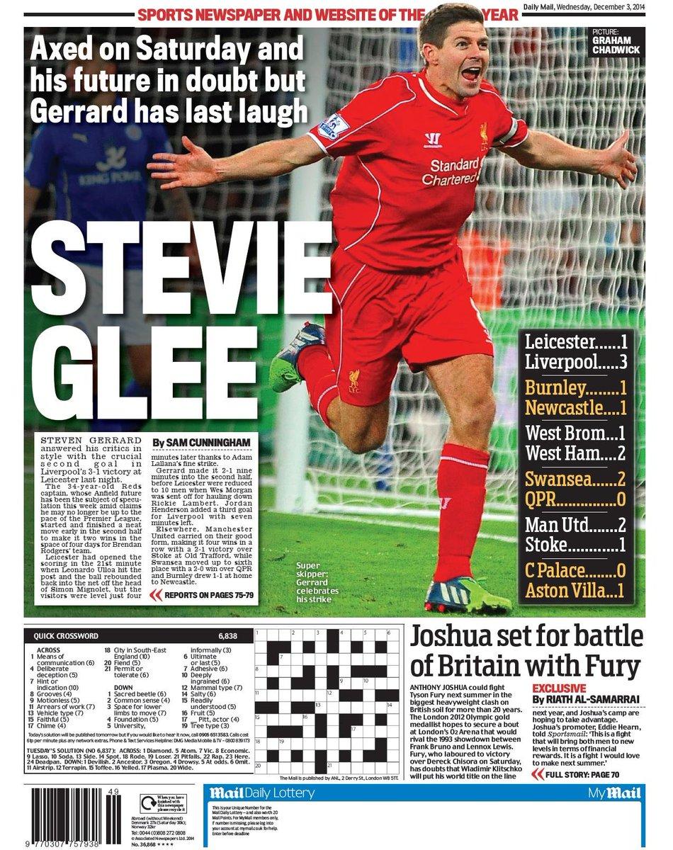 Portada del Daily Mail del 3 de Diciembre
