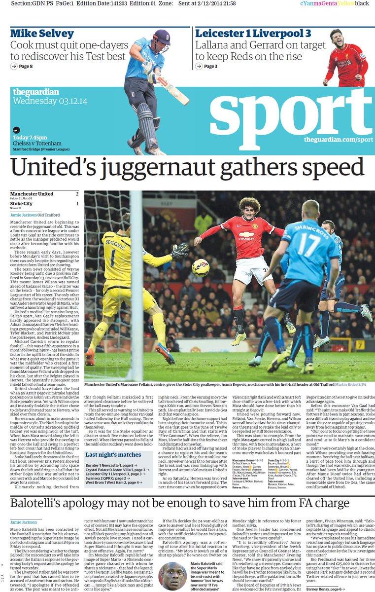 Portada de The Guardian del 3 de Diciembre
