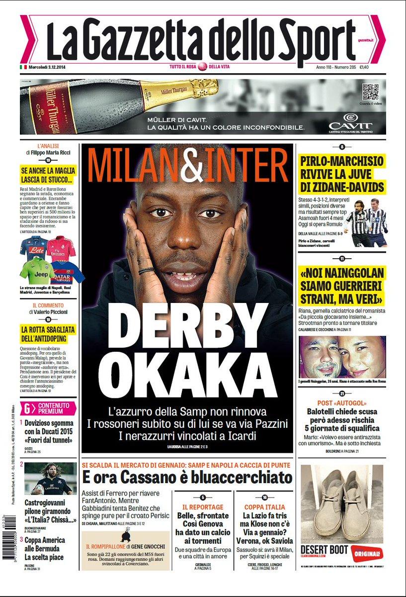 Portada de La Gazzetta dello Sport del 3 de Diciembre