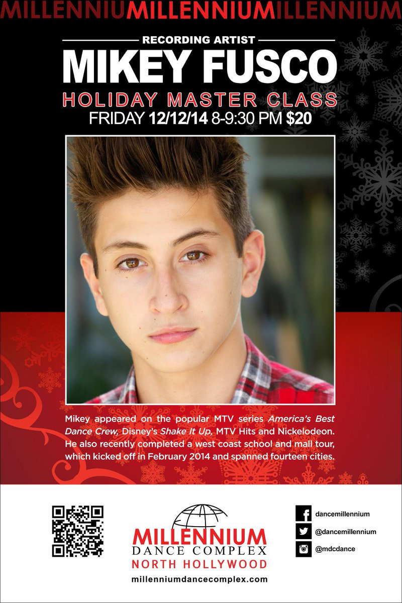 @IamMikeyFusco is teaching a HOLIDAY MASTERCLASS DEC 12  8-9:30PM...COME DANCE WITH US http://t.co/TLJPYmj61o