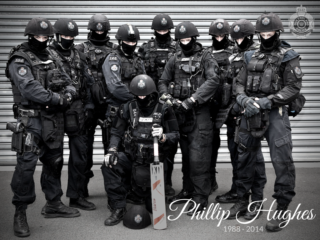 Yeesh RT @QPSmedia: Our SERT pays tribute to the late Phillip Hughes #PutYourBatsOut #RIPPhillipHughes @CricketAus http://t.co/XczPYSGMyj
