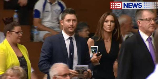 The tough day begins for @MClarke23 At the funeral for his good mate Phillip Hughes #RIPPhillipHughes http://t.co/lTqOjMnVpF