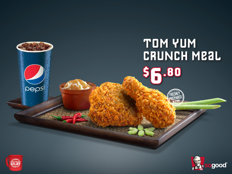 Craving for a taste of Thai? Head down to the nearest KFC for the new Tom Yum Crunch Meal at just $6.80! #TasteofThai http://t.co/QyZKrPnvKS