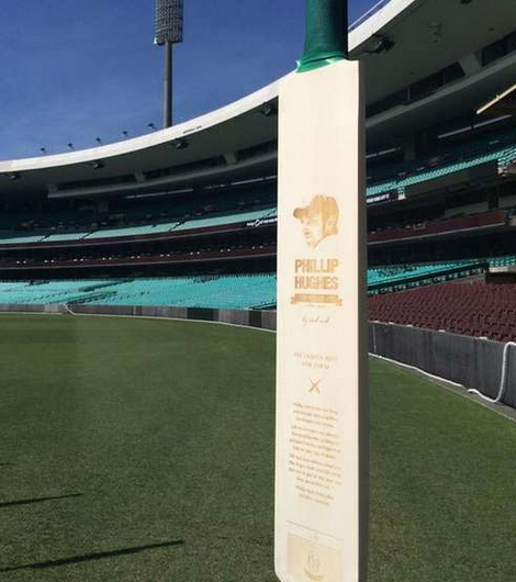 The 63 bats lined up at the SCG. Each one tells a different Phillip Hughes story. Live text: http://t.co/7wm8wrjqrA http://t.co/OqGJtXbhn2