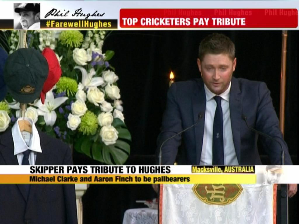 "Michael Clarke at Phil Hughes' funeral, says,""His spirit is still with me & I hope it never leaves"" #FarewellHughes http://t.co/yBXA4t4Lrh"