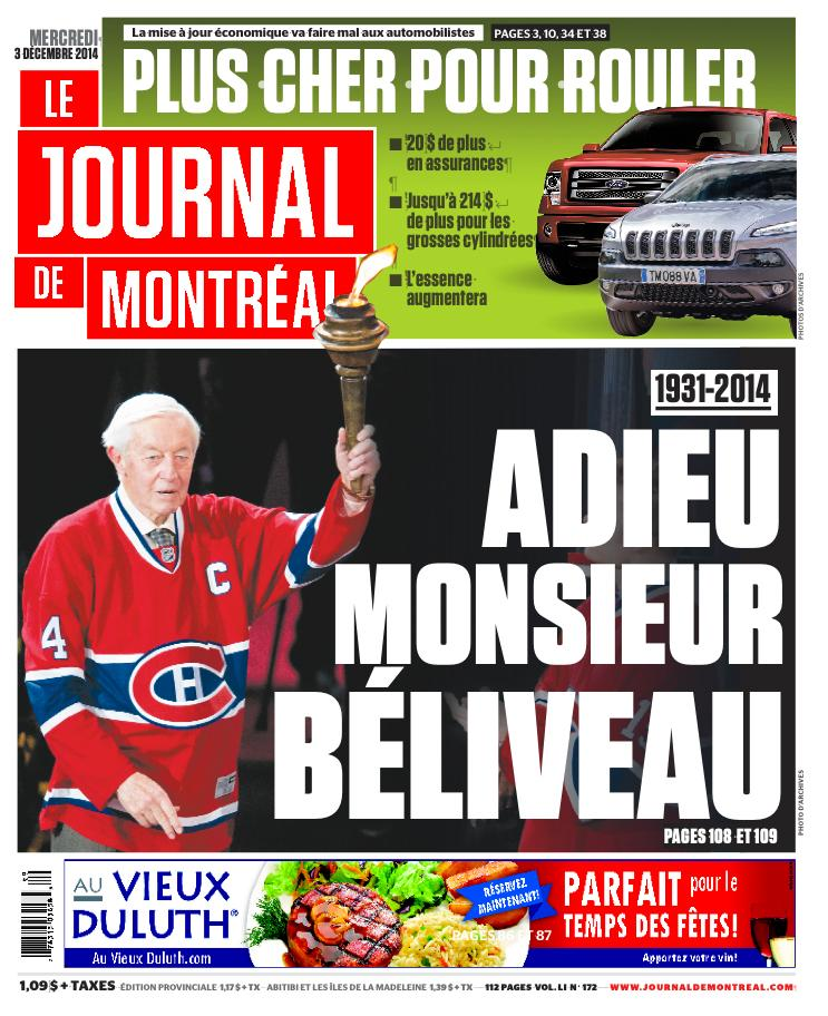 """Journal de Montréal on Twitter: """"La UNE de votre Journal ..."""