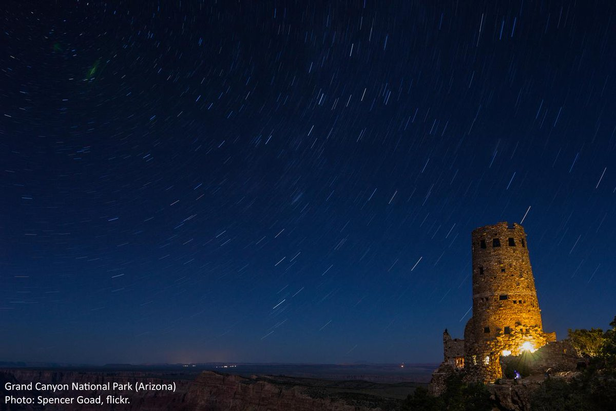 Wilderness Society on Twitter:  Star trails over the famous Desert View Watchtower at the Grand Canyon. Have a good night...  (Photo by Spencer Goad)