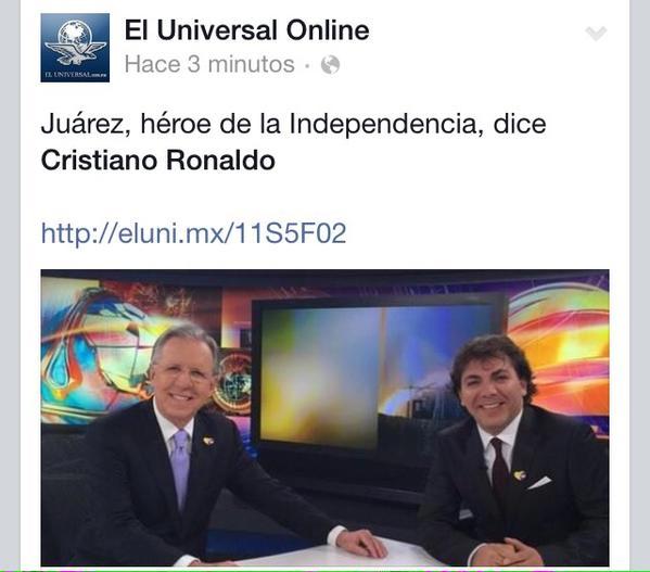 """""""@iauraB: Si Cristian Castro anda drogado los del Universal andan PEOR. ¿Andas en México @Cristiano? http://t.co/pUcR2w93Yd"""" jajaja @anacru"""