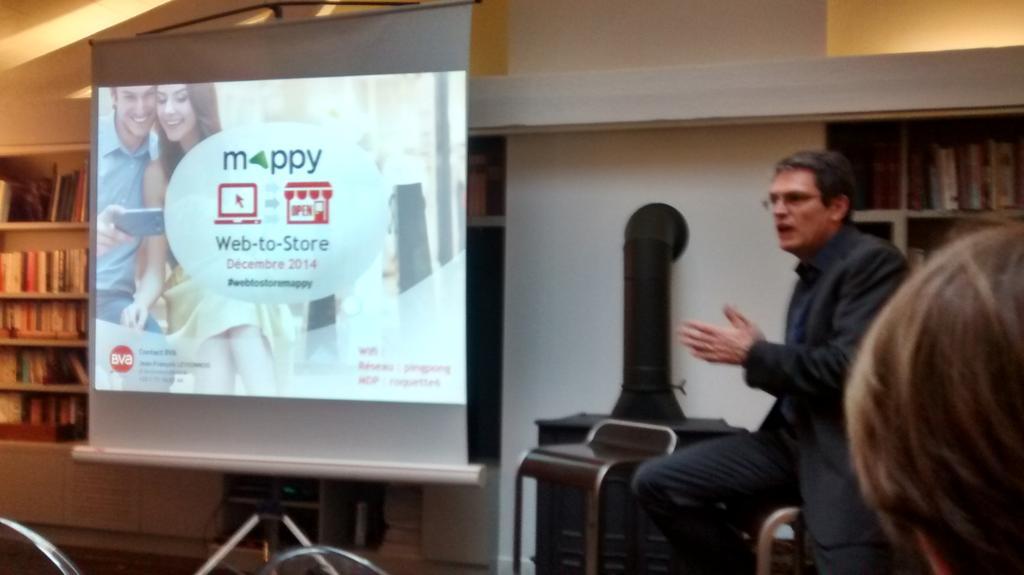 Début de la présentation Web to Store avec Jean-François Levionnois, BVA et Bruno Dachary, Mappy #webtostoremappy http://t.co/4zEDwL9KAC