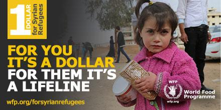 For you it's $1, for them it's a lifeline – donate now & help @WFP feed 1.7M #Syrians http://t.co/CFu18qouRc http://t.co/fN0F1FypTz