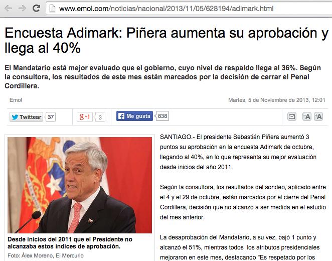 10/2013: Piñera: 40% aprueba, 51% rechaza 11/2014: Bachelet 42% aprueba, 52% rechaza Y El Mercurio lo dice así: http://t.co/3ajAMsCr1k