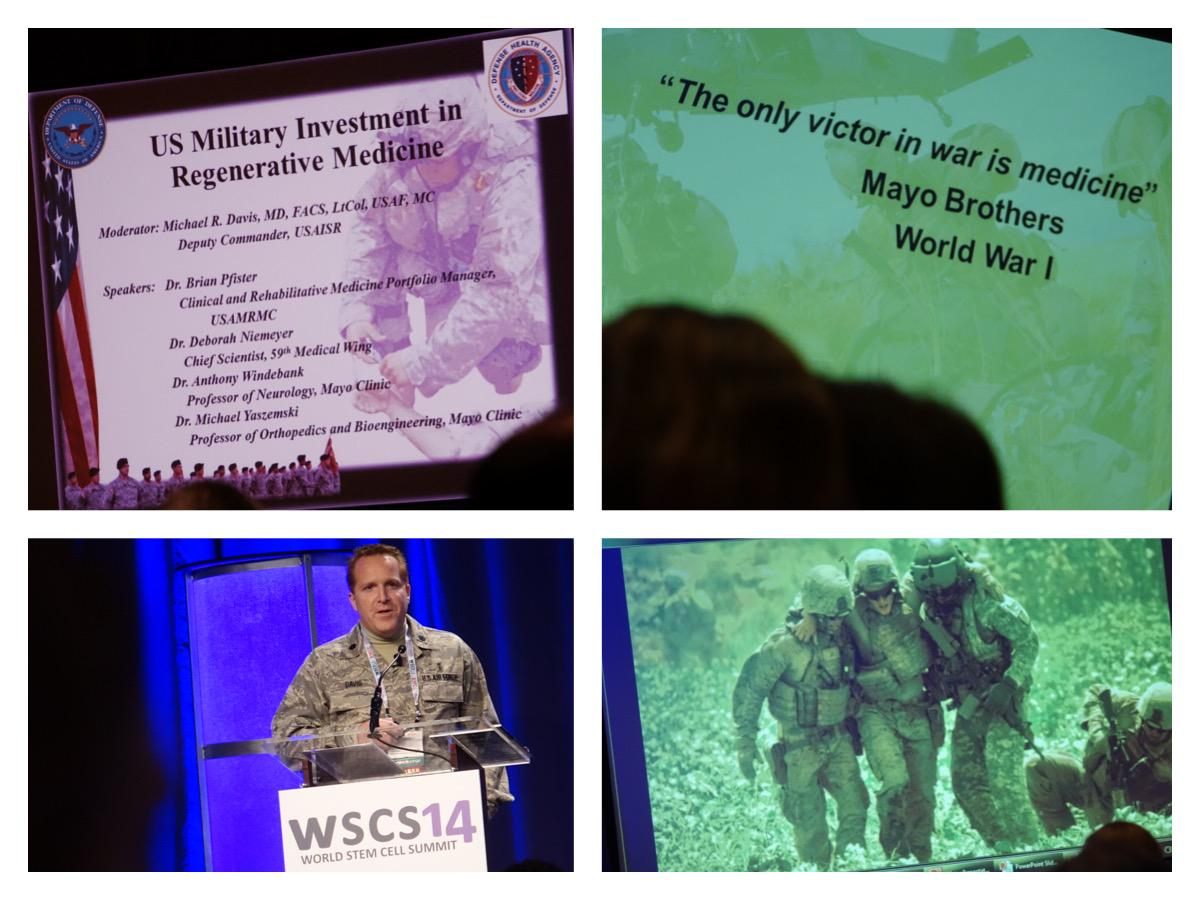 """The only victor in war is medicine."" Panel talking about US Military's investment in #RegenerativeMedicine. #WSCS14 http://t.co/fn79vc2Lek"