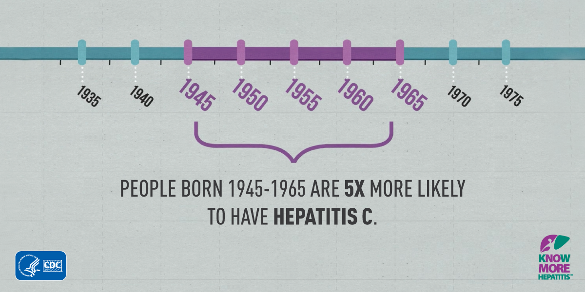 Did you know CDC recommends ppl born 1945-65 get tested for #HepC? Learn more http://t.co/pJY2Wz0Tci #HCV #health http://t.co/2olZE234R5