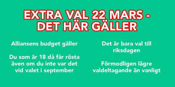 Grattis ni som fyllt 18 efter 14 september, ni får rösta i extravalet 22 mars! http://t.co/jOuVIAh9hA #regeringskris http://t.co/RZ7F6Dvkzu
