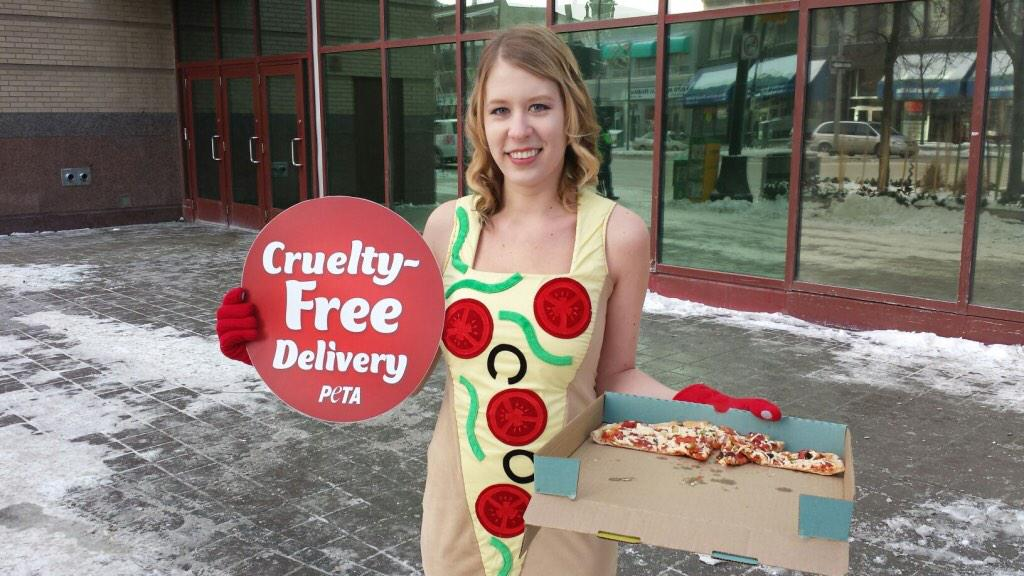 PETA is handing out cruelty free vegan pizza today - Portage at Edmonton. #Winnipeg http://t.co/mU36yFal0k