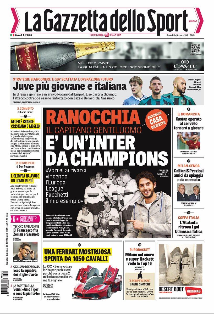 Portada de La Gazzetta dello Sport del 4 de Diciembre