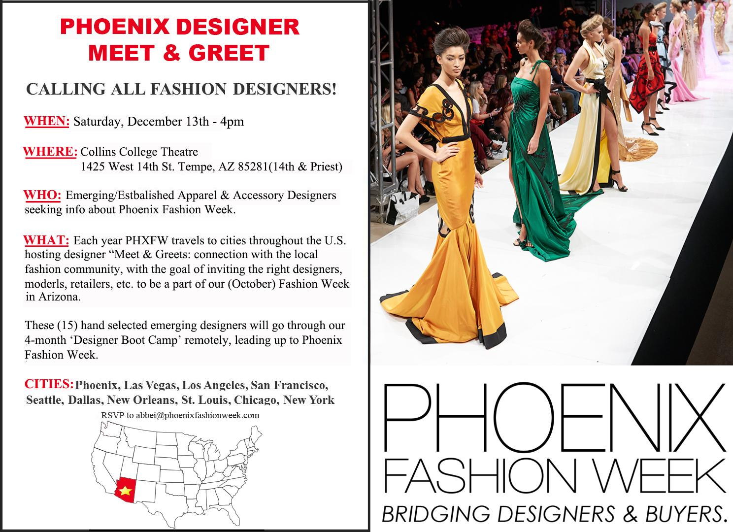 Phxfashionweek On Twitter Phoenix Designer Search Meet Greet Dec 13th 4pm Bring Your Fashion A Game Designersearch Http T Co Gahdupffdq