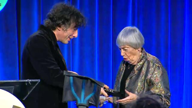 You must see/read/watch this!>Ursula Le Guin's speech at the #NationalBookAwards http://t.co/rS0GYrPqCg #NBAwards http://t.co/yhVBa0fjAd