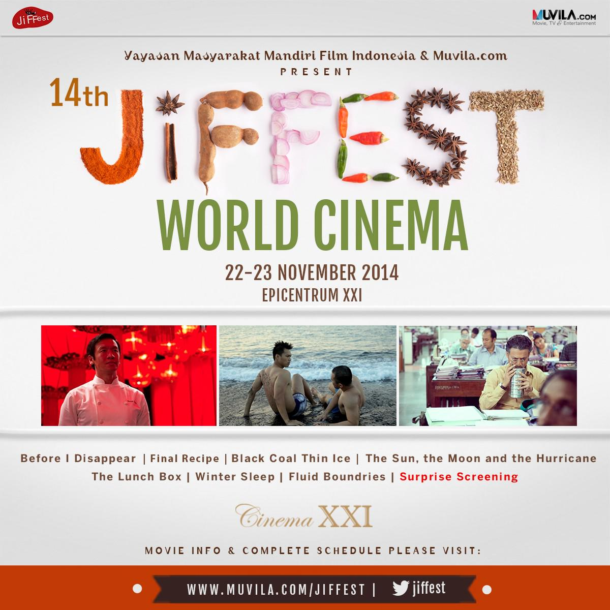 Ini jadwal World Cinema hari kedua di @cinema21 Epicentrum #JiFFest14 http://t.co/dnjMSpDbsm