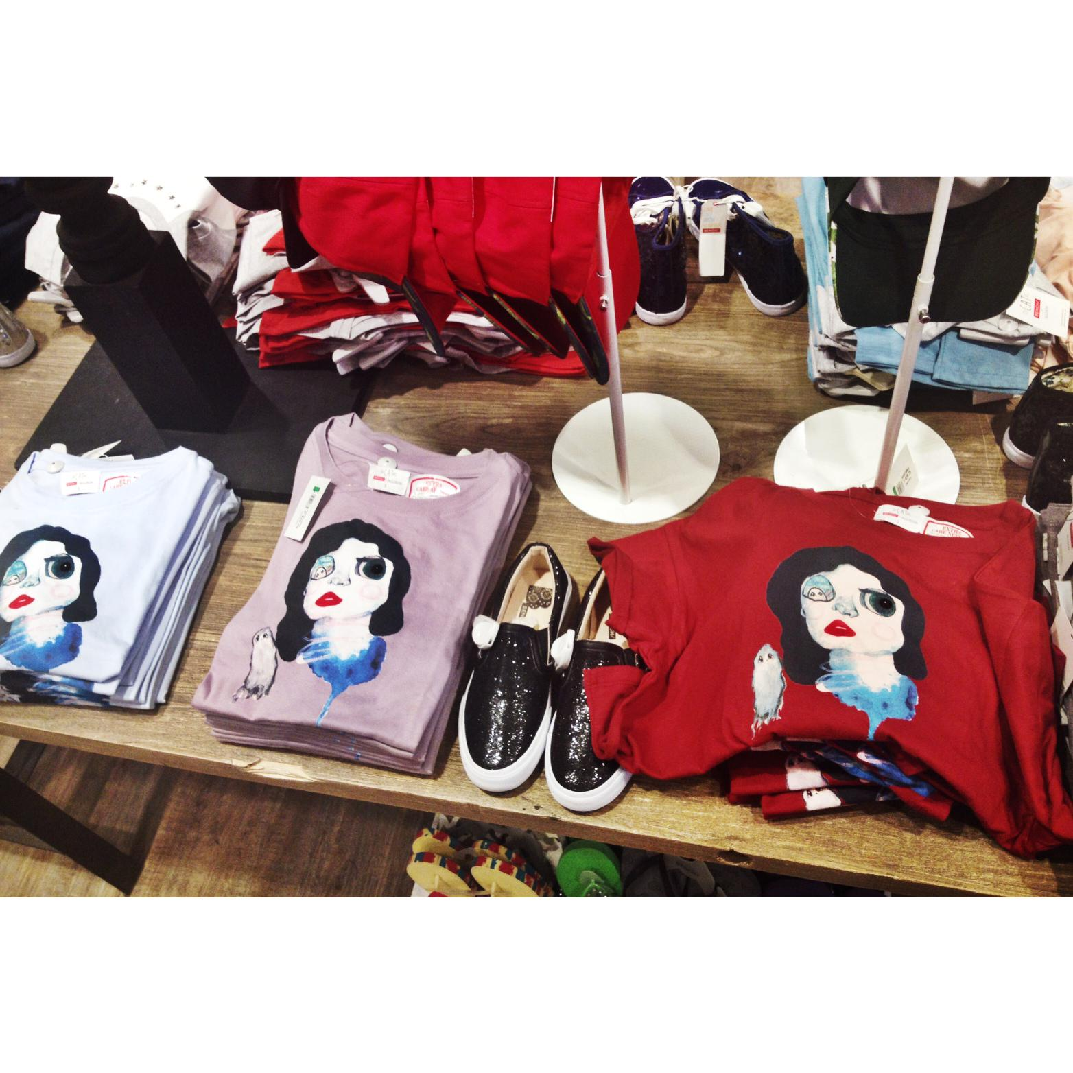 i just went to #bench to see my #CATxBENCH shirts  and i'm SO EXCITED. i love how they turned out! <3 in stores now! http://t.co/sMpigVqHoy