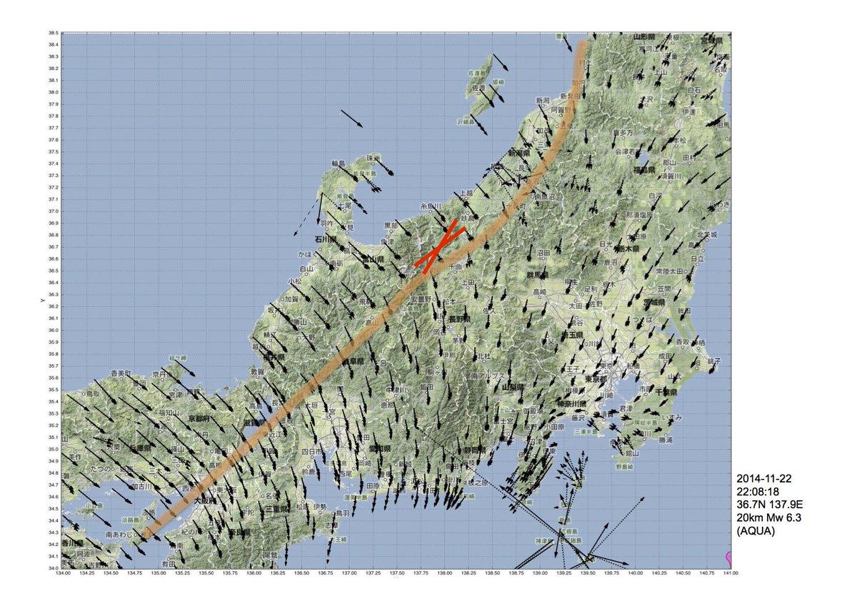 長野県北部の地震は「歪集中帯」に発生したようです。この地震の震央と発震機構解の走行をGPS_Vの分布とそれから見た歪集中帯のおおよその位置を示した図上に記してみた。 http://t.co/PhX82PhFn8