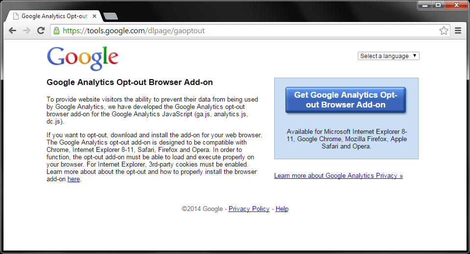 Google Analytics Opt-out Browser Add-on: https://t.co/FzlceDlyYA ~ Of interest to anybody reading this Tweet. http://t.co/49fl1PmMmu