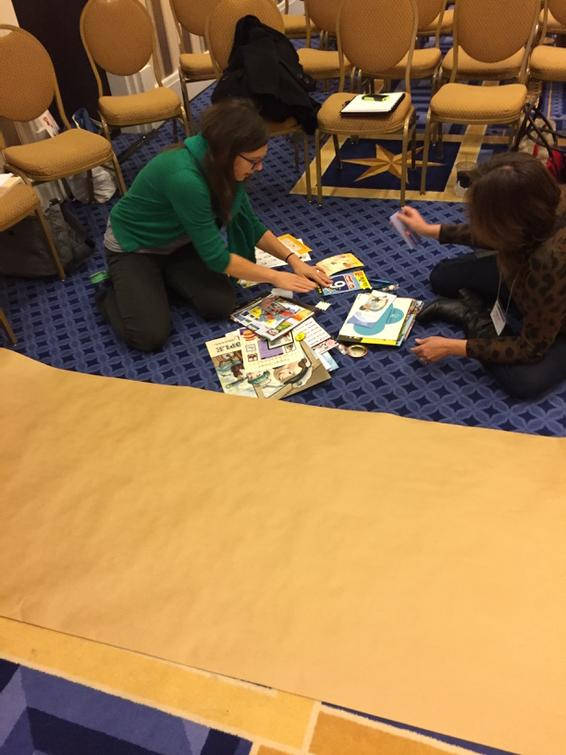 #ncte14 #hackjam agents prepare a new banner for the conference with remixed a schwag from the exhibit hall. http://t.co/EnvwyMmirG
