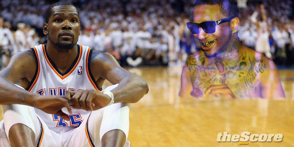 Lil B says he loves Kevin Durant but admits injury is due to Based God's Curse. Pray for KD. http://t.co/1ZncODID02 http://t.co/HaVXTCb46f