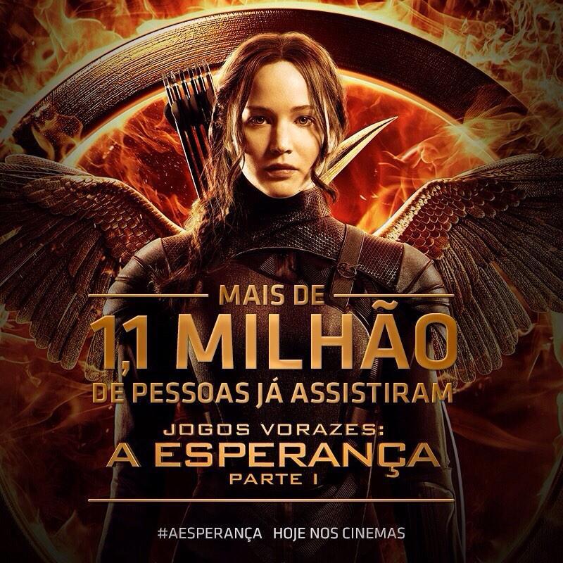 Até ontem o filme #JogosVorazes: #AEsperança - Parte 1 foi visto por mais de 1,1 MILHÃO de pessoas nos cinemas. http://t.co/gs5KMDi8WJ