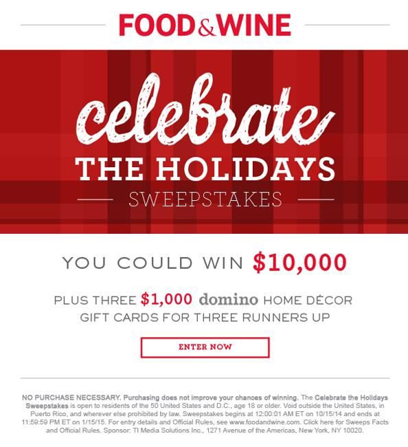 You could win $10,000 with @foodandwine's Celebrate the Holidays Sweepstakes! Enter now:    http://t.co/ztNNU2pZM3 http://t.co/paKusXAw5y