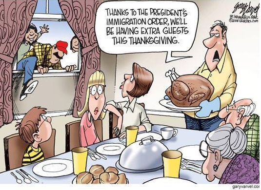 A cartoon that impressively manages to be tone deaf both to history & the meaning of Thanksgiving via @tomscocca http://t.co/ZHgFnI0c6N