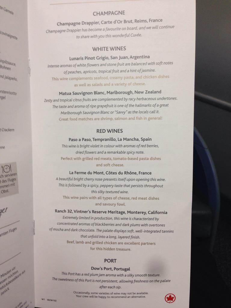 Disappointing, @AirCanada not a single Canadian wine on your biz class list. I can help with your PR AND selections. http://t.co/Q4bQx7DiXA