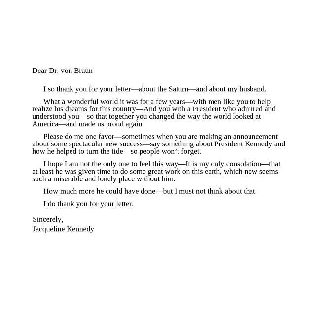 Ten days after Dr Von Braun's letter, Jackie Kennedy replied. #JFK51 http://t.co/oOp5QCHurG