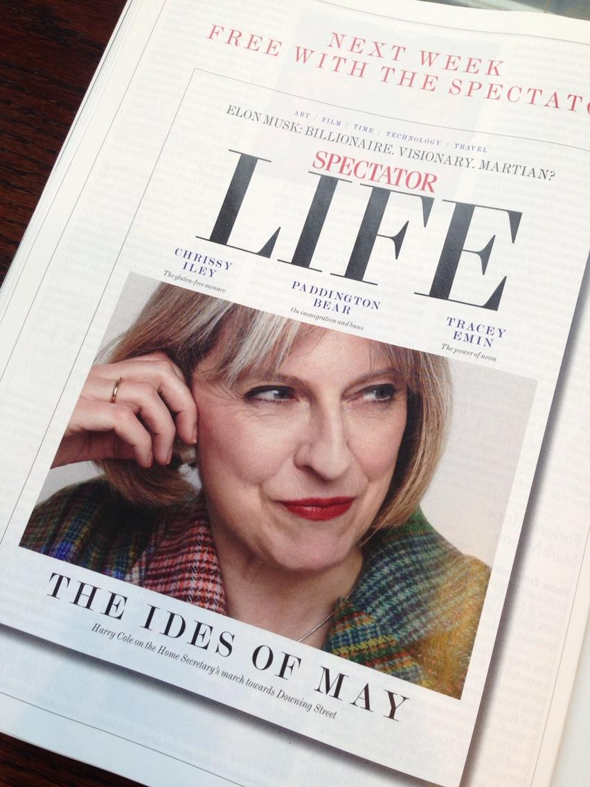Listening to #Theresa May on #desertislanddiscs look out for @mrharrycole's @Spectator_LIFE cover out on Thursday... http://t.co/Ri8tjhDhje