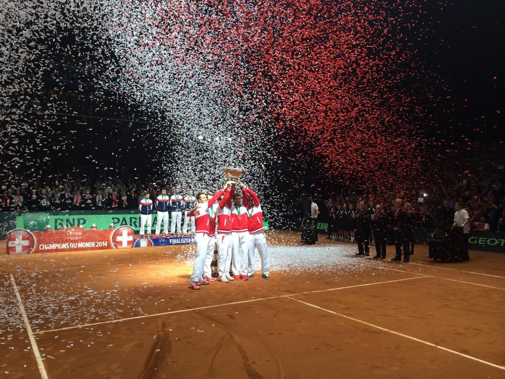 """@DavisCup: Congratulations to Switzerland! 2014 #DavisCup champions!!! http://t.co/4UVZNGUfcJ"" Well done Roger Stan & Co Swiss deserves it"