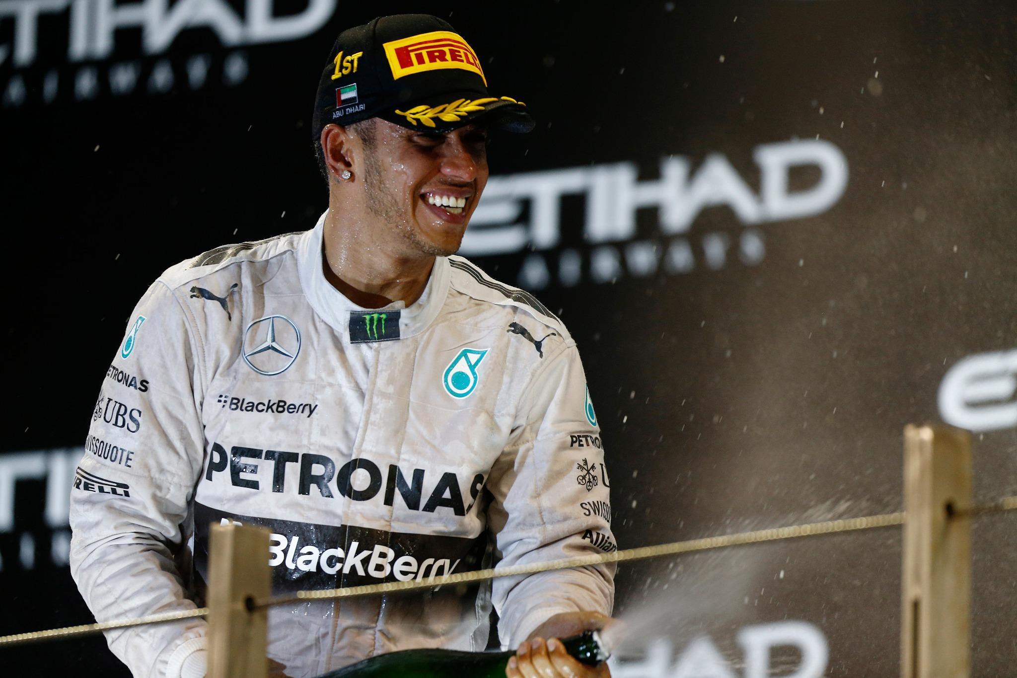 RT @MercedesAMGF1: How sweet does that taste for @LewisHamilton?! Spray away Lewis - you're a DOUBLE #F1 #W05LDCHAMPION!!! #AbuDhabiGP http…