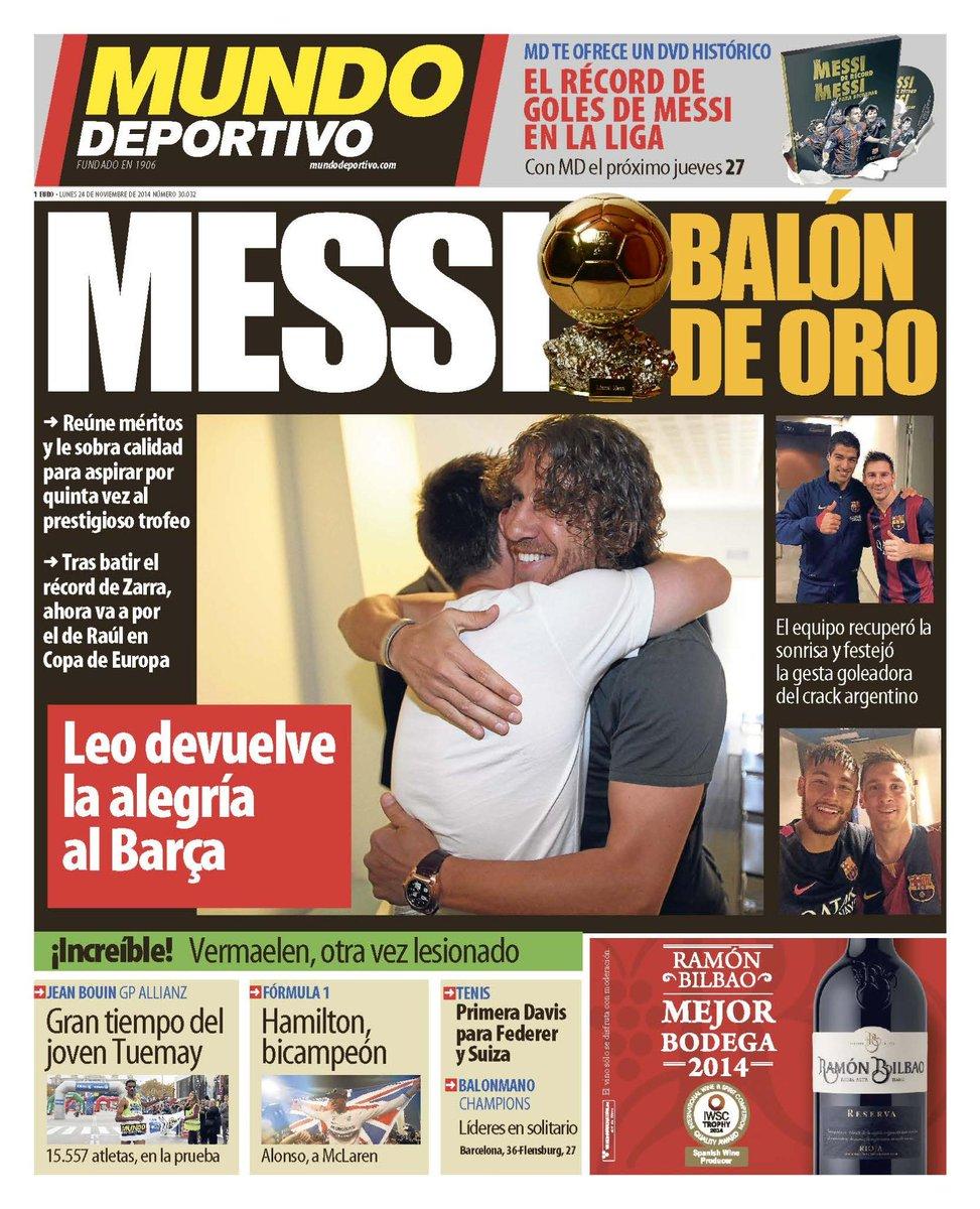 Portada de Mundo Deportivo del 24 de Noviembre: Messi Balón de Oro
