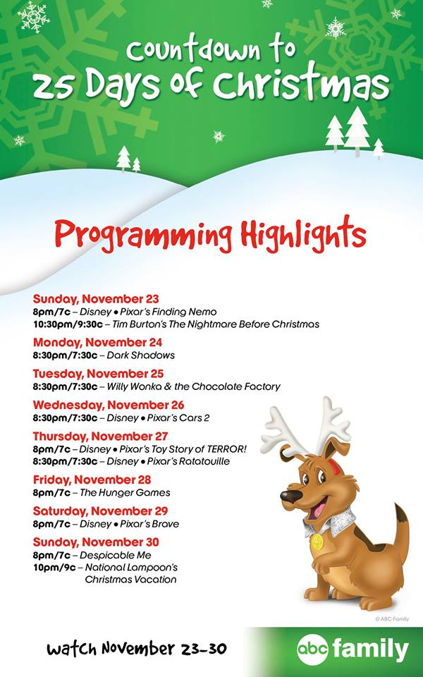 132 pm 23 nov 2014 - Abc Family 25 Days Of Christmas Schedule