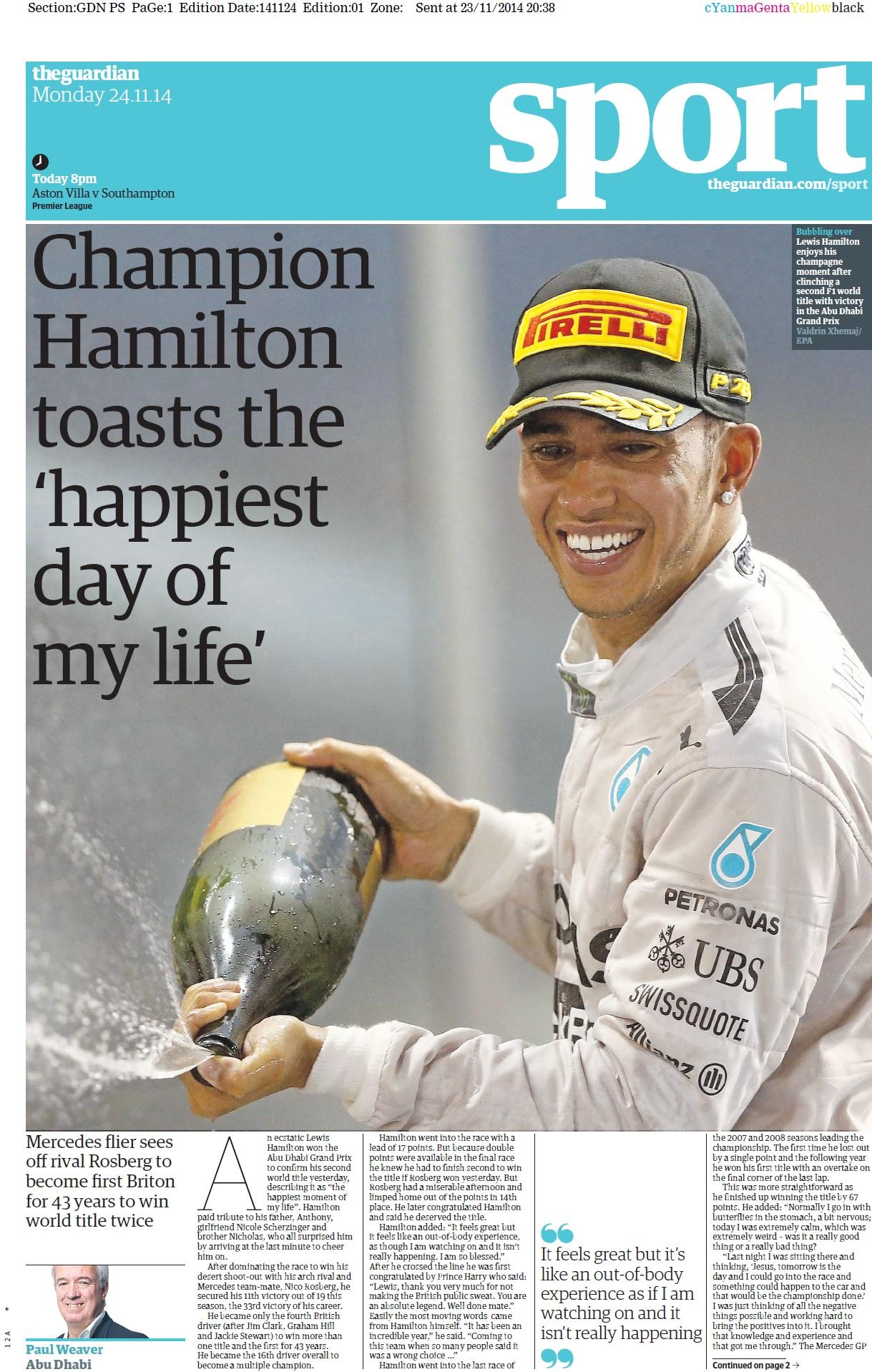 Portada de The Guardian del 24 de Noviembre