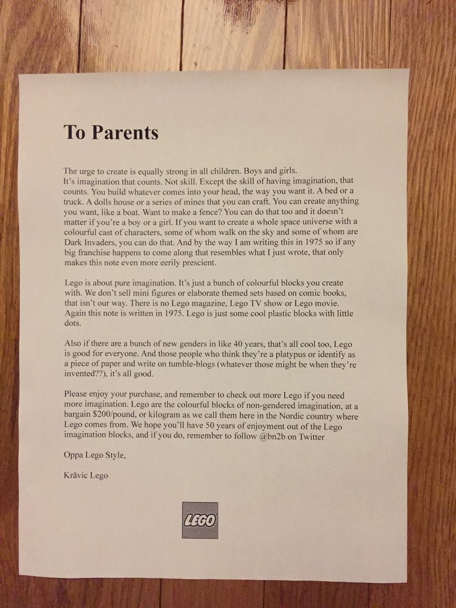 Check out Lego's great letter to parents from 1975: http://t.co/umhgagB4kw