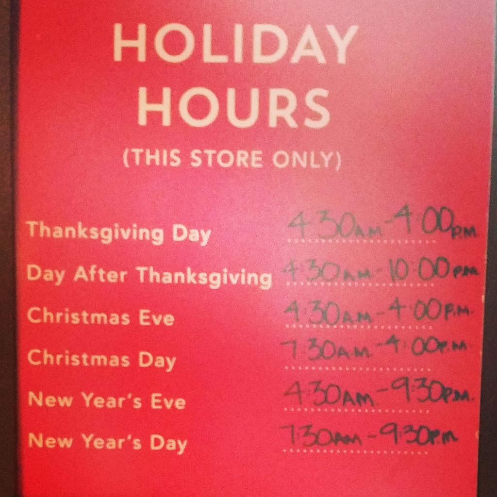 Starbucks Christmas Hours.Benson Plaza On Twitter Holiday Hours For Your Benson