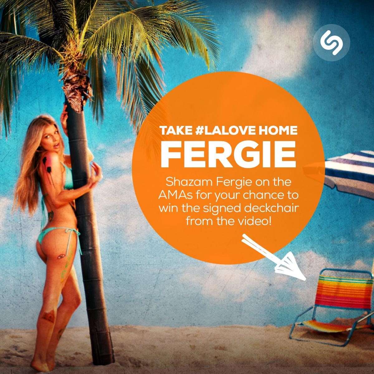 RT @Shazam: Take some #LALove home - #Shazam @Fergie on @TheAMAs now for a chance to win the signed beach chair from her video! http://t.co…