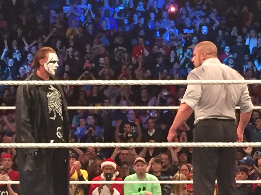 Sting appears at #SurvivorSeries Main Event still in progress. http://t.co/CZaz1jQq2O