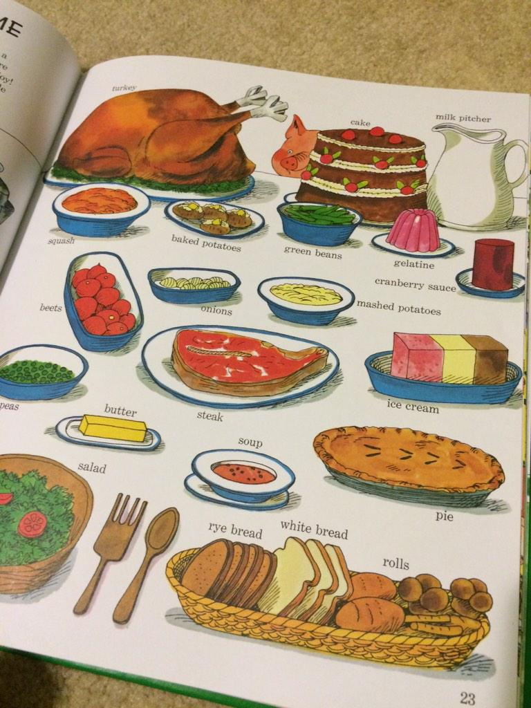 Thanksiving circa 1963 from my son's Richard Scarry book! Love the can-shaped cranberry sauce :) http://t.co/sUznpZeArZ