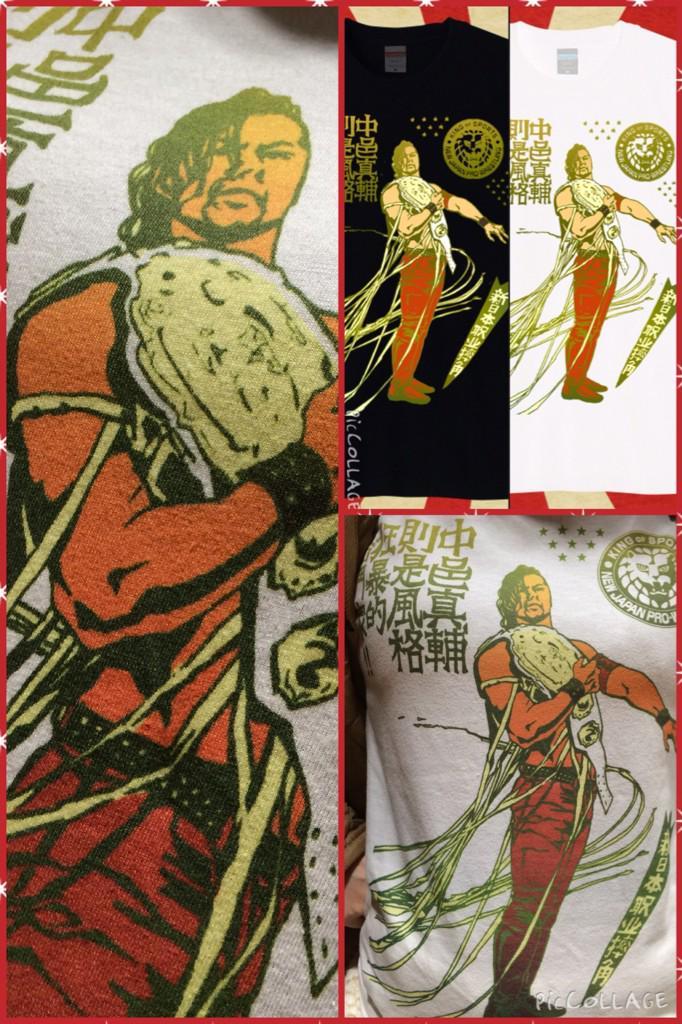 #新日ラボ で発売中の中邑選手激レアTシャツ、着用写真を撮らせていただきました。  今回のプリント方法は絵と布がしっくり馴染んでいていい感じです。  お買い求めはこちら>