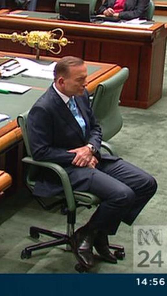 Adult government. MT @GailHislopALP This is PM Abbott when @billshortenmp spoke today. He turned his back. http://t.co/qLylJo9beH
