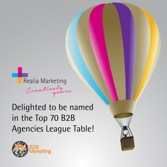 RT @RealiaMarketing: Delighted to be named in #Top70B2BAgencies League Table! http://t.co/3rHcMGpyjC
